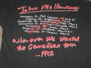 John Mellencamp 1992 Whenever We Wanted Canadian Tour 2back